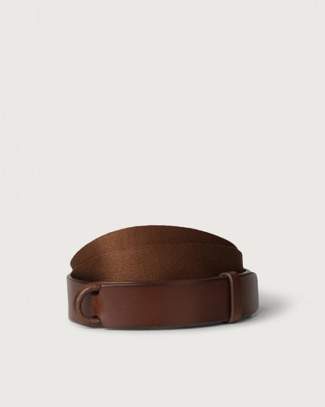 Orciani Cintura Nobuckle Bull in cuoio e tessuto Pelle e tessuto BRUCIATO