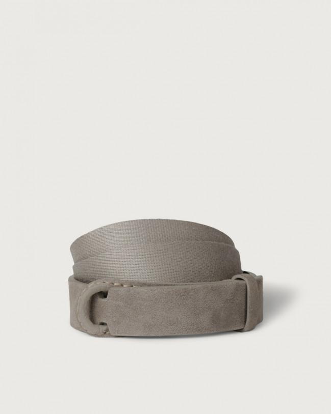 Orciani Cintura Nobuckle Suede in camoscio e tessuto Camoscio, Tessuto TAUPE
