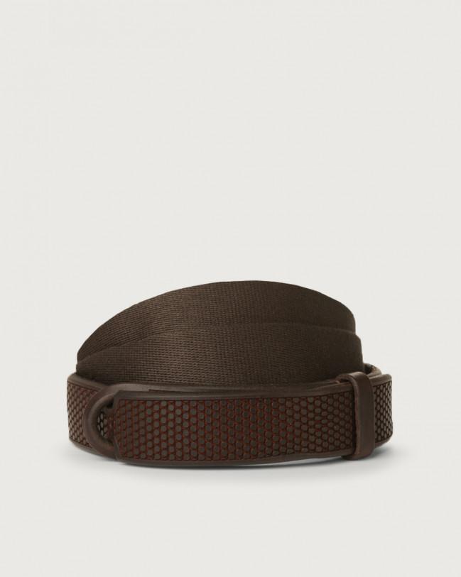 Orciani Cintura Nobuckle Bull Soft in cuoio e tessuto Pelle T.MORO