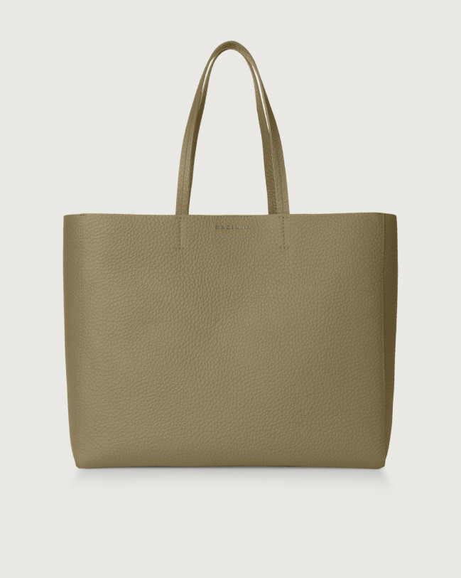 Orciani Shopper Le Sac Soft in pelle Pelle KAKI