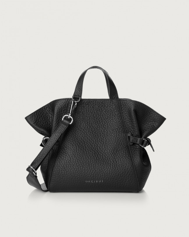 Orciani Borsa a mano piccola Fan Soft in pelle Pelle NERO