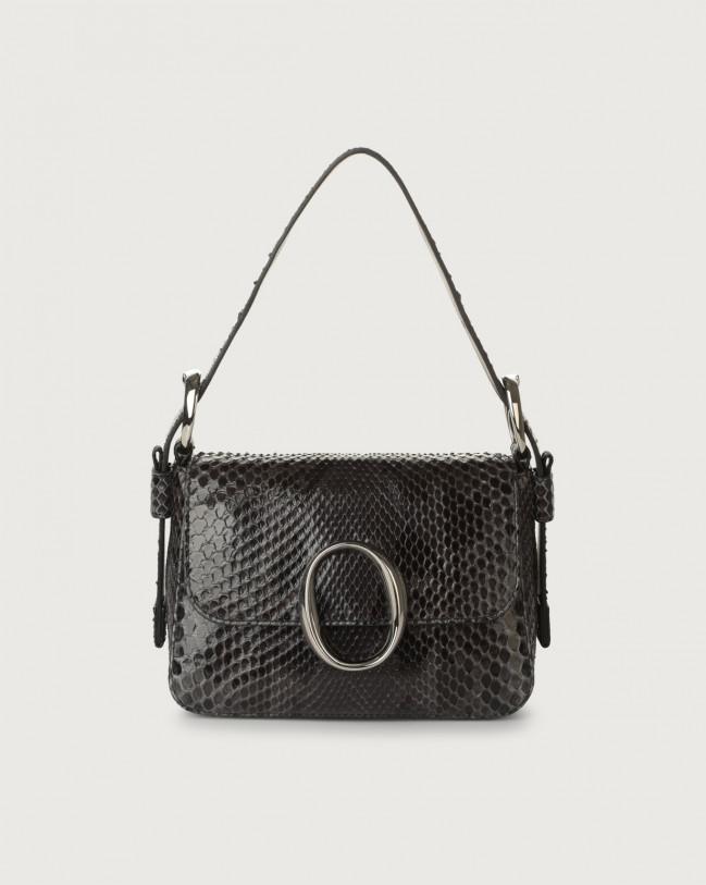 Orciani Mini bag Soho Diamond in pelle con tracolla Pitone ANTRACITE