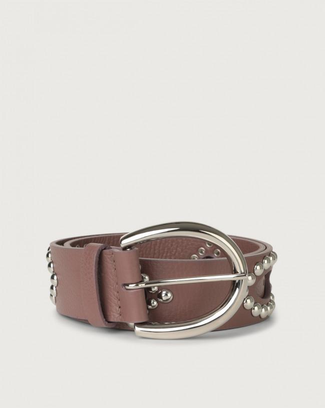 Orciani Cintura Micron in pelle con borchie Pelle MALVA