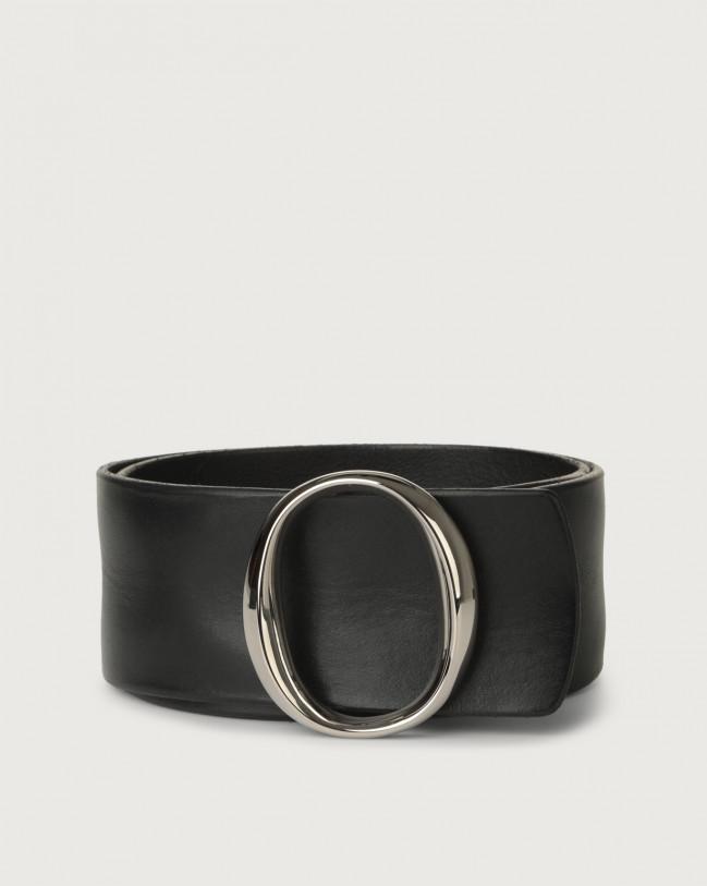Orciani Cintura alta Bull Soft in cuoio con fibbia monogram Pelle NERO