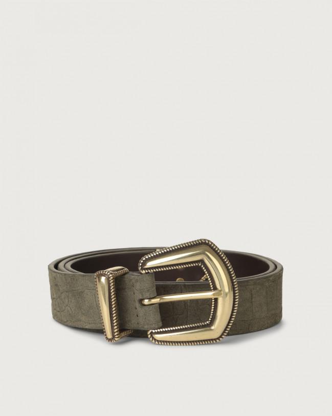 Orciani Cintura Cashmere in suede stampa stampa cocco Camoscio YERBA