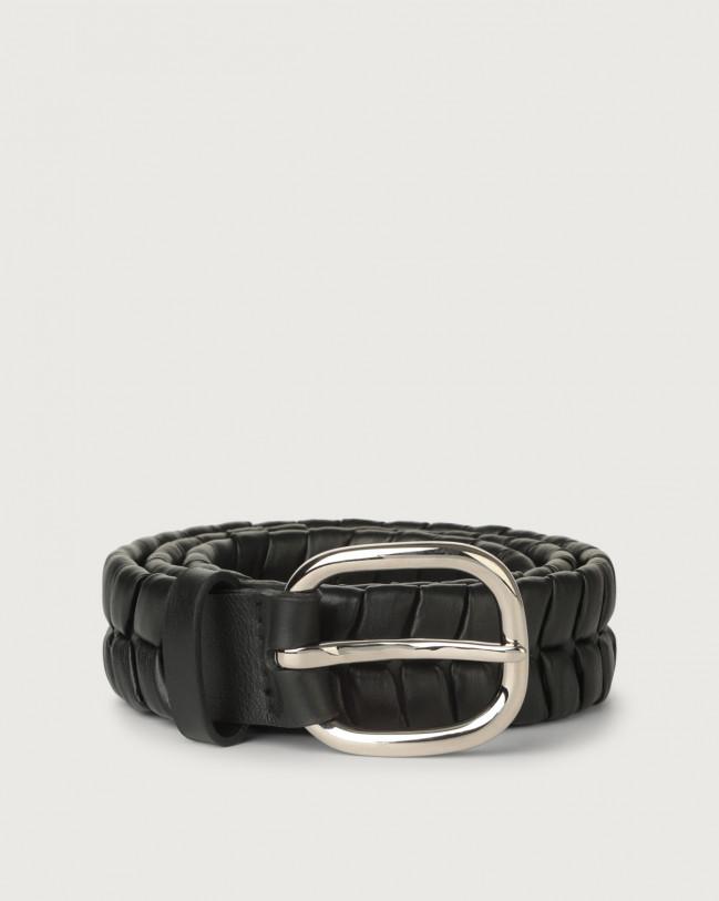 Orciani Cintura Liberty in pelle 4 cm Pelle NERO