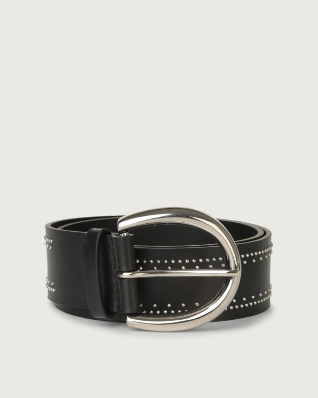 Orciani Cintura Liberty micro-borchie in pelle 4,5 cm Pelle NERO