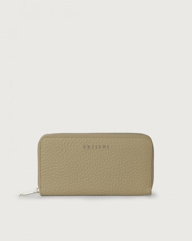 Orciani Portafoglio grande Soft in pelle con zip e RFID Pelle KAKI