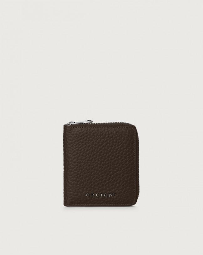 Orciani Portafoglio piccolo Soft in pelle con zip e RFID Pelle T. MORO