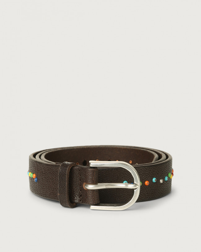 Orciani Frog micro-studs leather belt Pelle stampata T.MORO