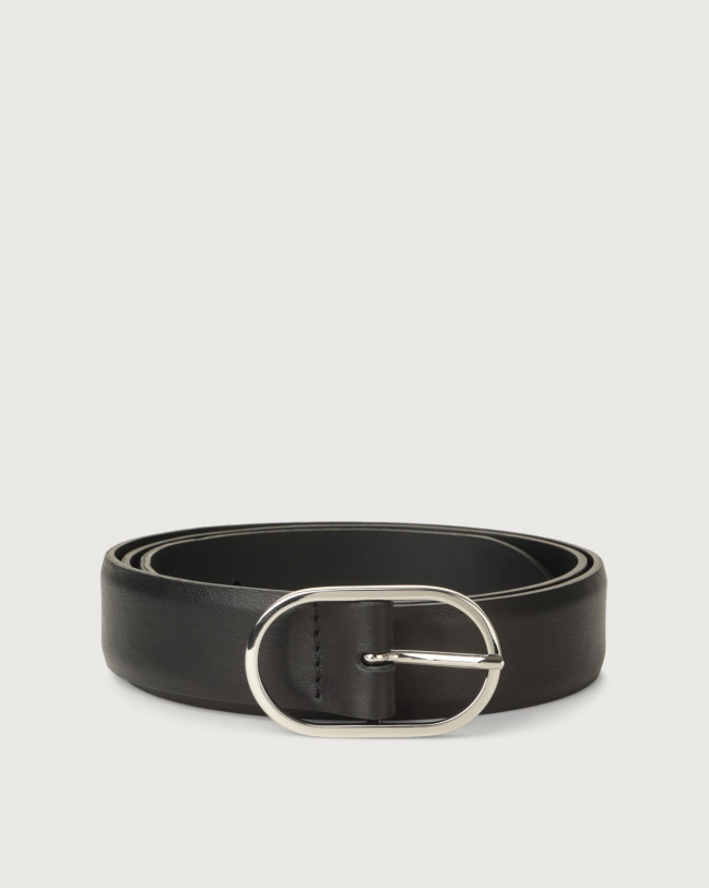 Orciani Cintura classica Bali in pelle 3 cm Pelle NERO
