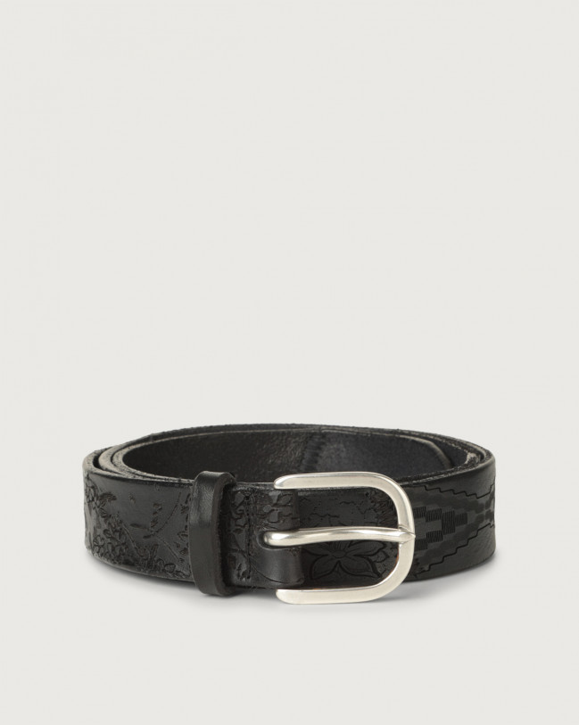 Orciani Patch Stain leather belt Pelle NERO