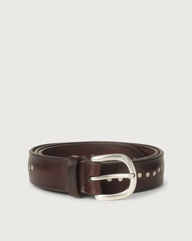 Orciani Cintura Bull Soft in cuoio con micro-borchie Pelle T.MORO