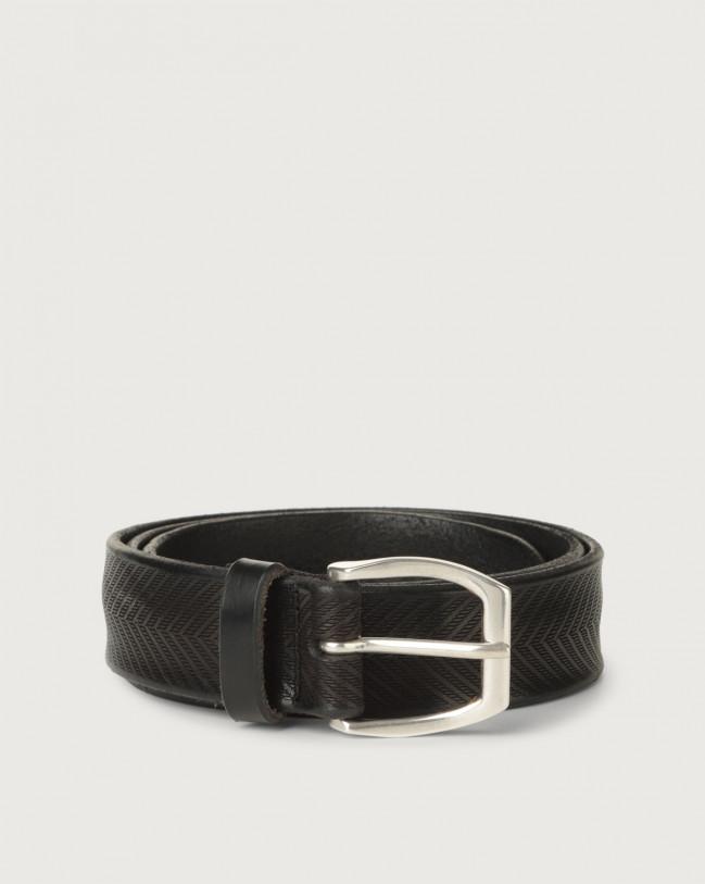Orciani Cintura Bull Soft in cuoio 3,5 cm Pelle NERO
