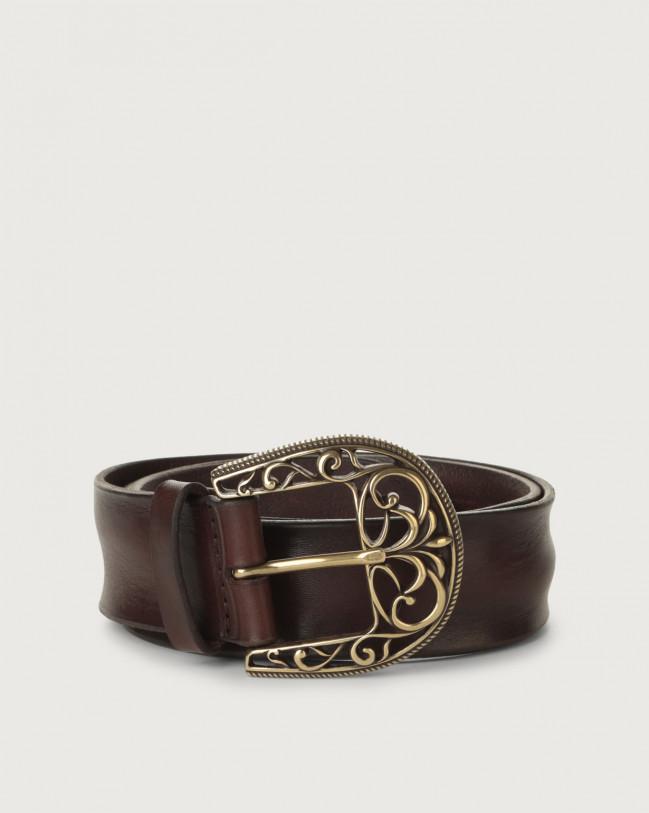 Orciani Cintura Bull Soft in cuoio fibbia ottone 4 cm Pelle T.MORO