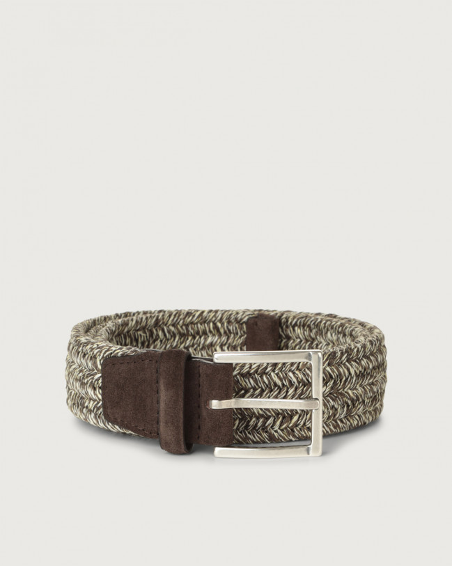 Orciani Cintura Melange Elast in lino Tessuto T.MORO