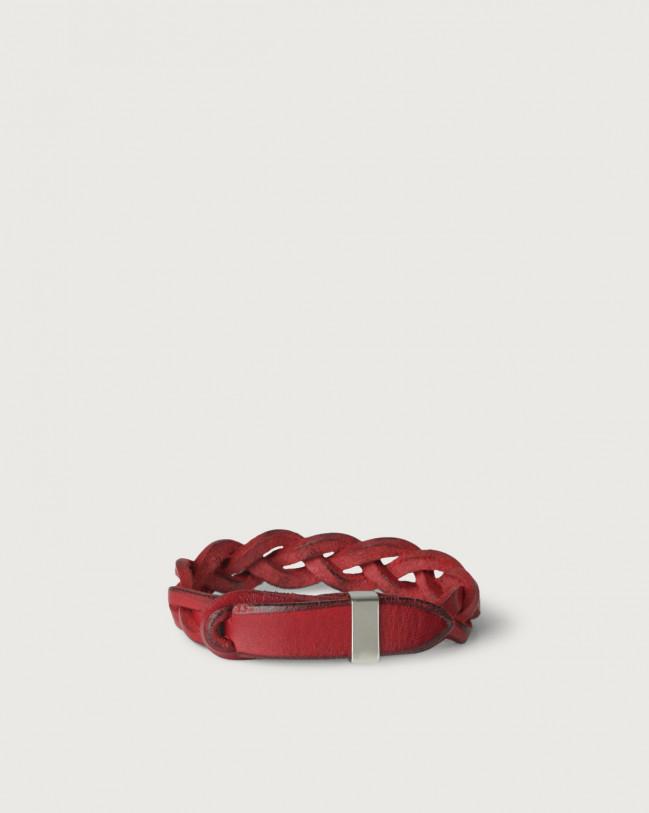 Orciani Bracciale Nobuckle Walk in cuoio con dettaglio argento Pelle ROSSO
