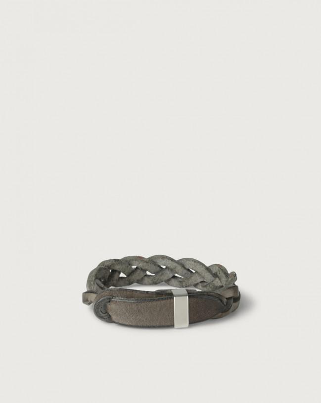 Orciani Bracciale Nobuckle Walk in cuoio con dettaglio argento Pelle FANGO