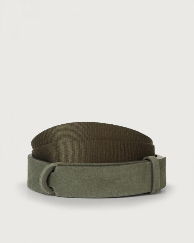 Orciani Cintura Nobuckle Suede in camoscio e tessuto Camoscio, Tessuto MILITARE