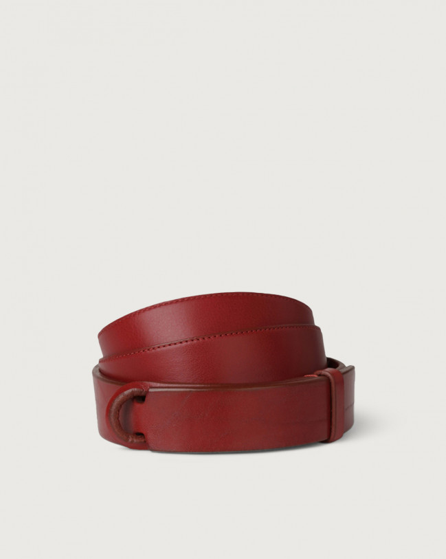 Orciani Cintura Nobuckle Bull in cuoio Pelle ROSSO
