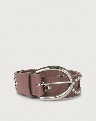 Cintura Micron in pelle con borchie