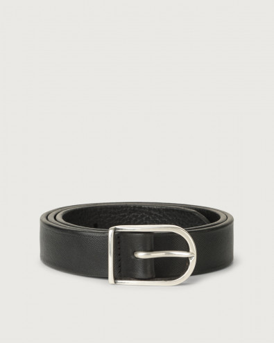 Cintura classica Saffiano Deep in pelle 3 cm