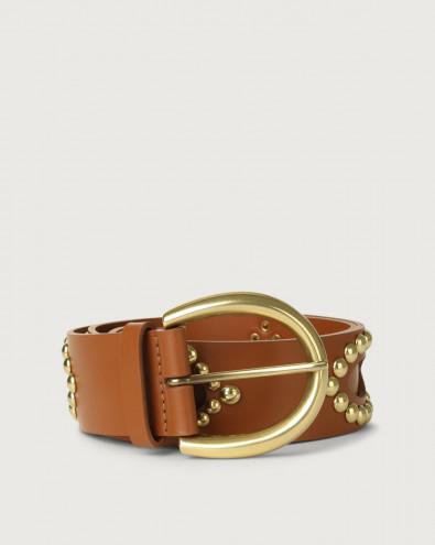 Cintura Piuma Ball in pelle con dettagli ottone