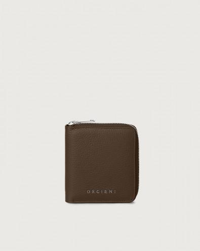 Portafoglio piccolo Micron in pelle con zip e RFID