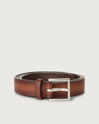 Cintura Saffiano Deep in pelle 3 cm