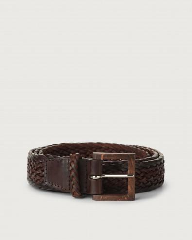 Cintura Masculine in cuoio con fibbia in legno