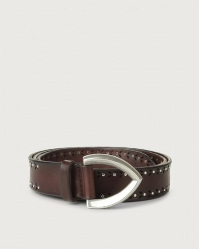 Cintura micro-brchie Bull Soft in cuoio 3 cm