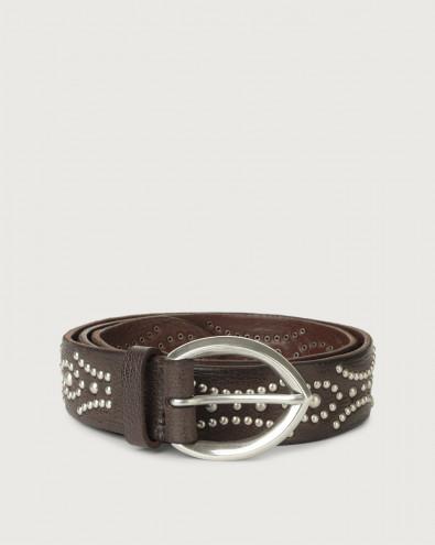 Cintura Chevrette in pelle con borchie