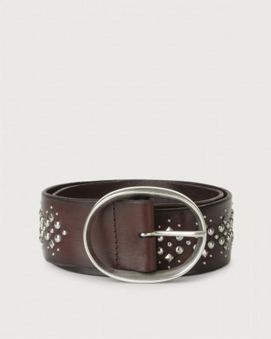 Cintura alta Chevrette in pelle con borchie