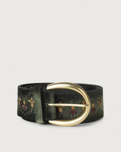 Cintura alta Velvet Tuscania in velluto e pelle