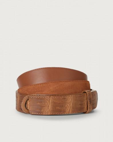 Cintura Nobuckle Camoscio cocco in coccodrillo e camoscio