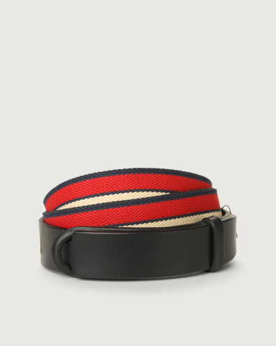 Cintura Nobuckle Line in cuoio e tessuto