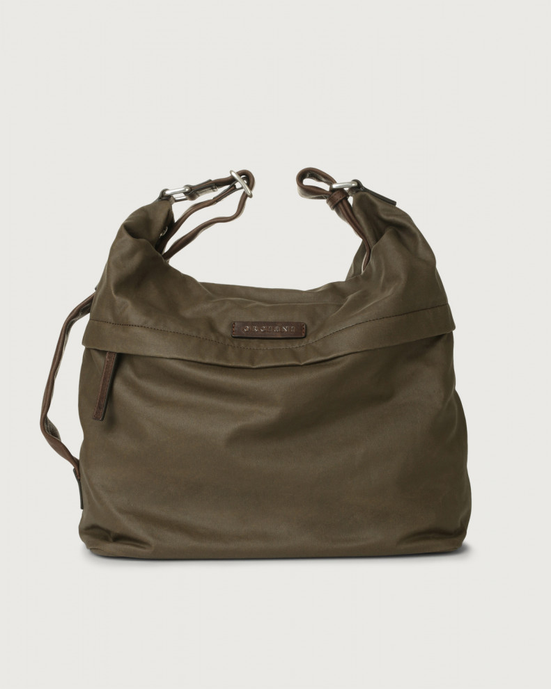 Leisure fabric and leather crossbody bag