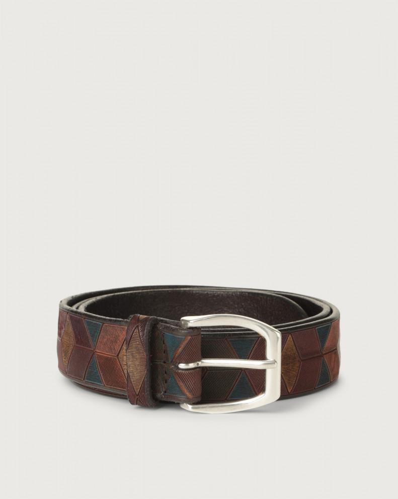 Cintura Color Block in cuoio