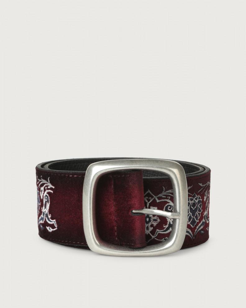 Cintura alta Velvet Arabic in velluto e pelle