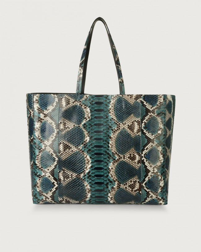 Orciani Le Sac Naponos python leather tote bag Python Leather Blue