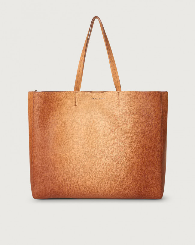 Orciani Le Sac Vanish One leather tote bag Leather Cognac