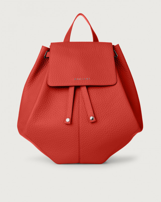 Orciani Iris Soft leather backpack Leather Red