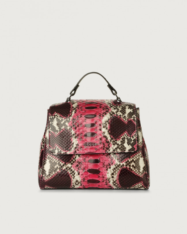 Orciani Sveva Naponos small python leather handbag Python Leather Pink