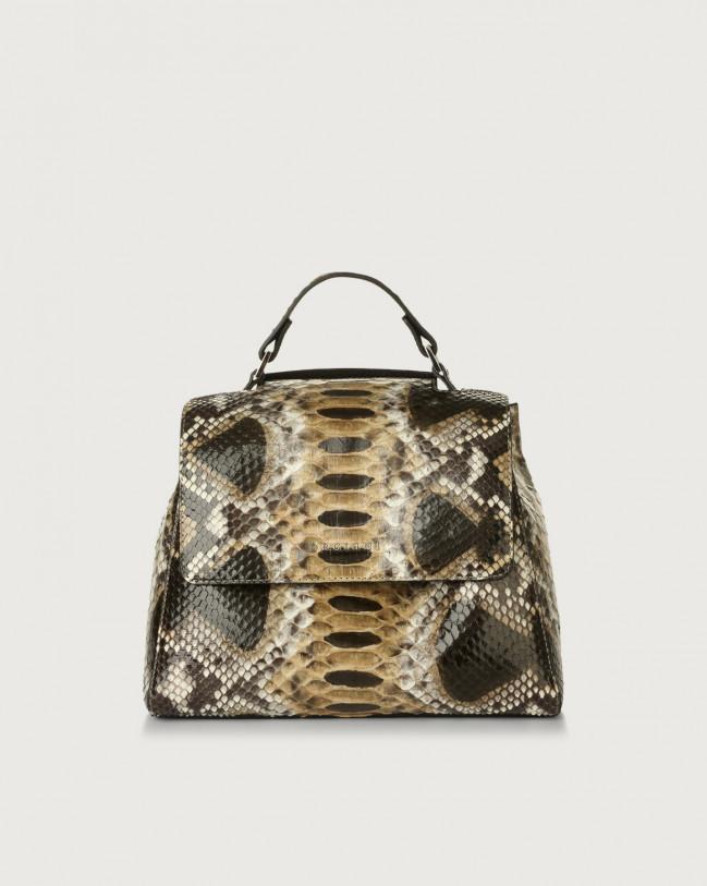 Orciani Sveva Naponos small python leather handbag Python Leather Sand
