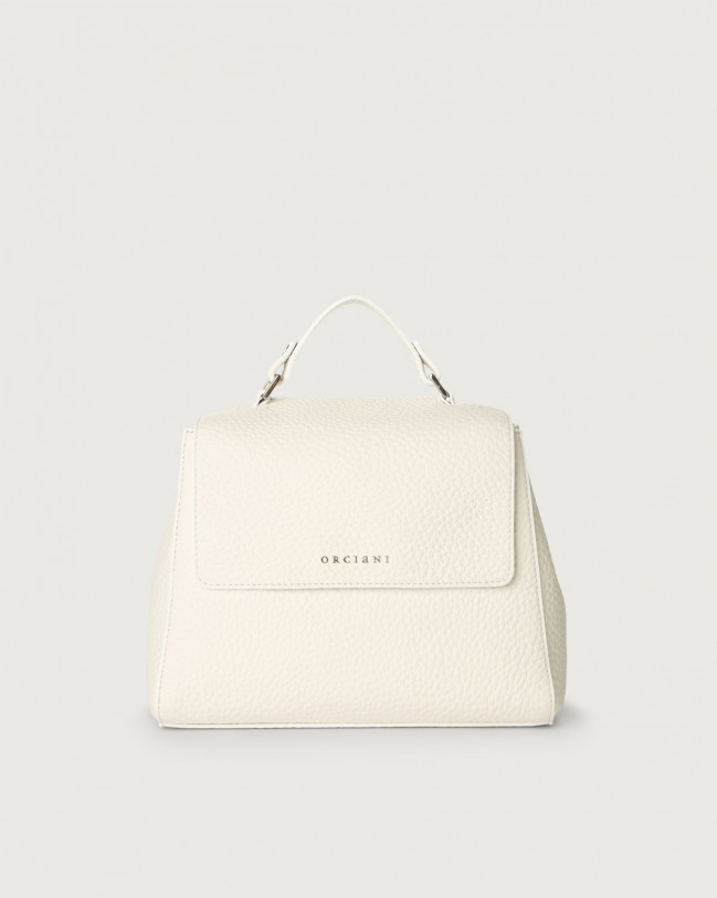 Orciani Sveva Soft small leather handbag with strap Leather White
