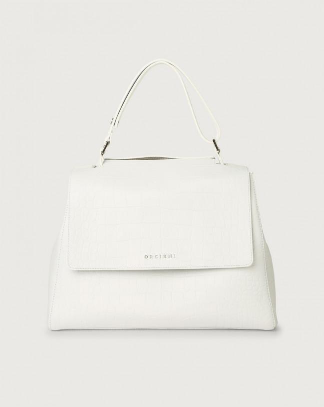 Orciani Sveva Kindu medium croc-effect leather shoulder bag Embossed leather White