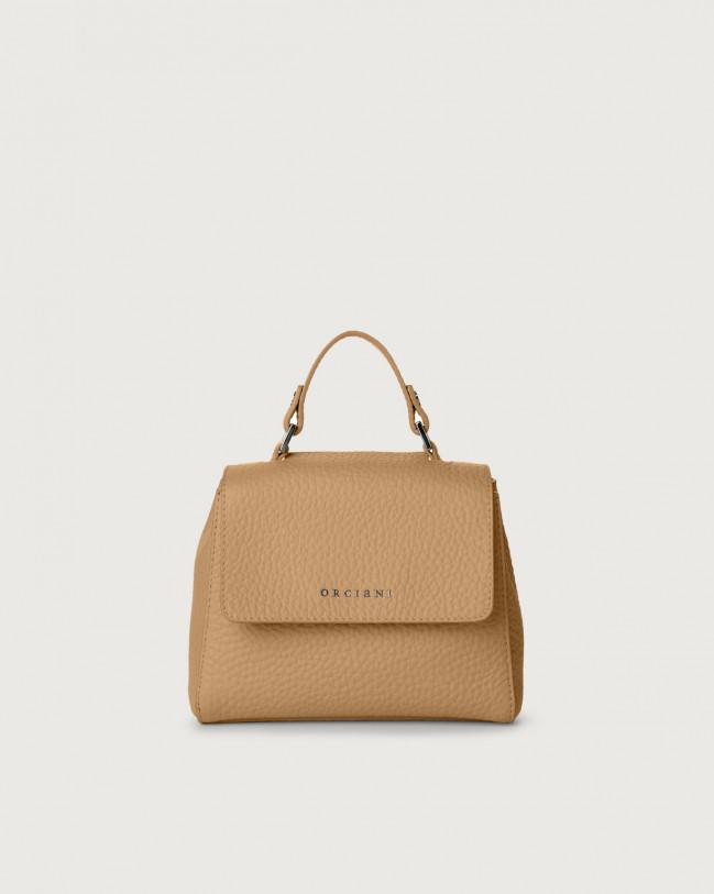 Orciani Sveva Soft mini leather handbag with strap Leather Tan