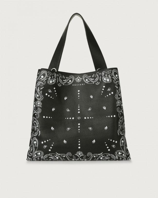 Orciani Jackie Bandanas leather shoulder bag Embossed leather Black