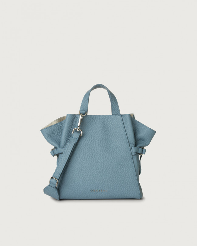 Orciani Fan Soft small leather handbag Leather Light Blue