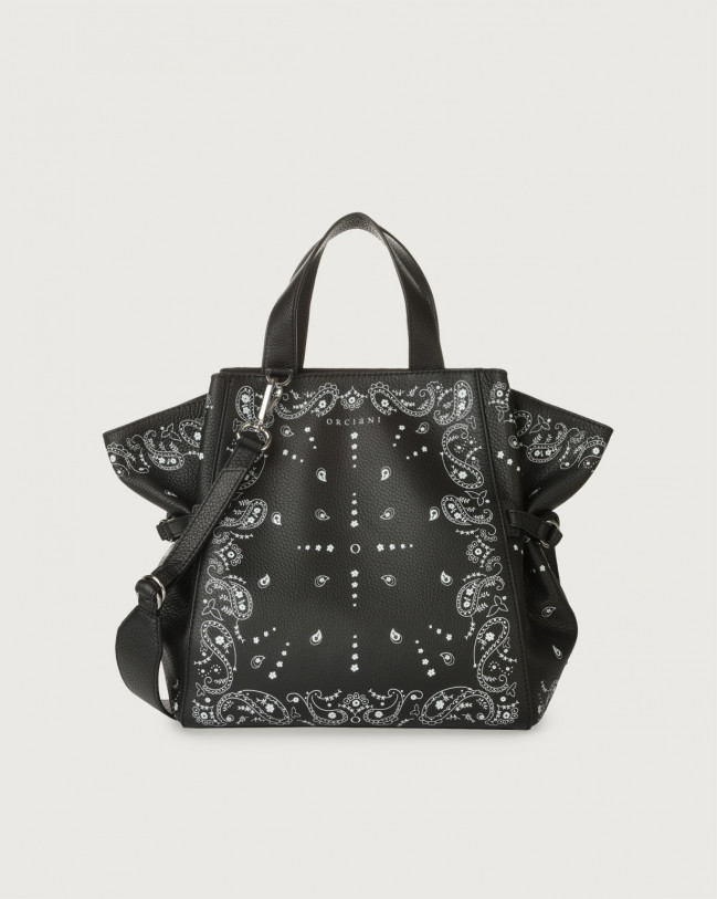 Orciani Fan Bandanas medium leather handbag Leather Black